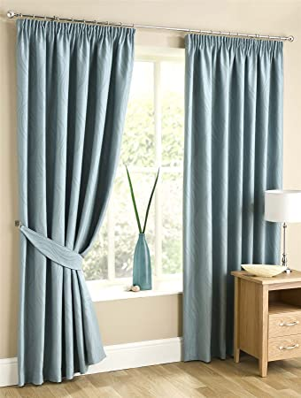 Homescapes Duck Egg Blue Pencil Pleat Lined Curtains Pair Width 46 ...