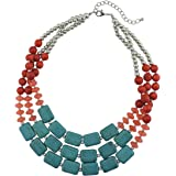 قلادة Bocar Statement 3 Strand Turquoise ملونة مكتنزة للنساء
