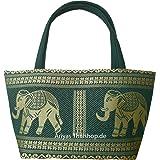 Kleine Handtasche aus Baumwolle/Seide mit Elefanten Muster von Ariyas Thaishop