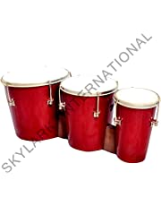 Skylark Musicals Wooden Triple Bongo Drum (Red)