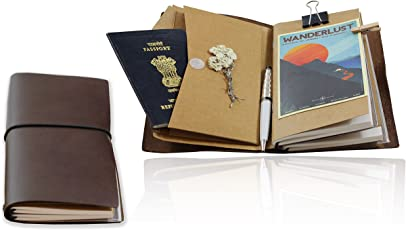 Hipsters Traveller's Notebook - Personal, Travel and Business Organiser and Journal - Premium Leather - Refillable and Modular with Complete Kit - 2 Notebooks, Kraft Insert, and Zip case
