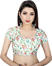 Spangel Fashion White Multi Color Flower Pattern Round Neck Women's Ready Made Saree's Blouse
