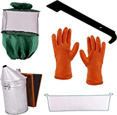 Hi-tech Natural Products(India) Beekeeping Equipments of Bee Veil (Green), Rubber Gloves, Hive Tool (Iron J Type), 1 Plastic Feeder, Smoker(Gi)