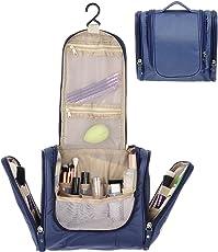 PETRICE Multifunctional Travel Toiletry Bag Extra Large Makeup Organiser with Hook (Dark Blue)