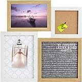 Gadgy ® Letter Board, Lavagna Sughero e Portablocco in uno   Dimensioni 31,3 x 31,3 x 1,5 cm   Con 170 Lettere Bianche e 2 Puntine da Disegno