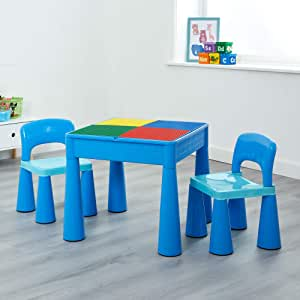 Liberty House Toys Plastic Blue Children's 5-in-1 Activity Table & Chairs with Writing Top/Sand/Water and Storage, Ideal