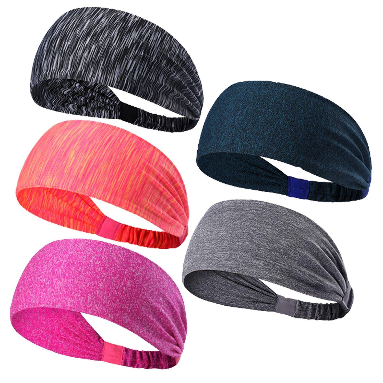 5-Stück Sport Stirnband Schweißband, Anti- Rutsch Kopf schweissband, atmungsaktiv für Rennen, Joggen, Volleyball, Yoga, Fitness, Radfahren, ür Damen und Herren