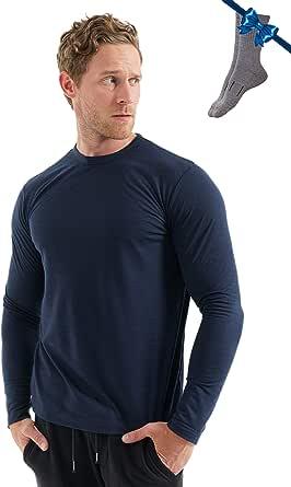 Merino.tech Mens Base Layer - 100% Organic Merino Wool Long Sleeve Thermal T-Shirt Lightweight/Midweight