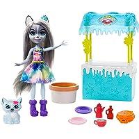 Enchantimals coffret Stand de Gaufres, mini-poupée Hawna Husky, figurine animale Crème Fouettée, pâte à modeler et…