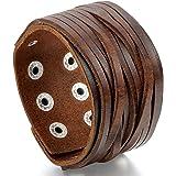 JewelryWe Grande Bracciale Uomo Braccialetto in Pelle, Regolabile con Fibbie, American Style Interlacciata Ampio, Bracciale P