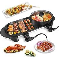 Gril électrique Portable,BITOWAT Fondue Chinoise & Barbecue Electrique,2 in 1 Plancha Electrique Et Hot Pot 5 Niveaux…