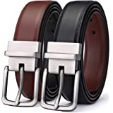 Men's Belt,Bulliant Leather Reversible Belt for Men, One Belt Reverse for Two Colors, Trim to Fit
