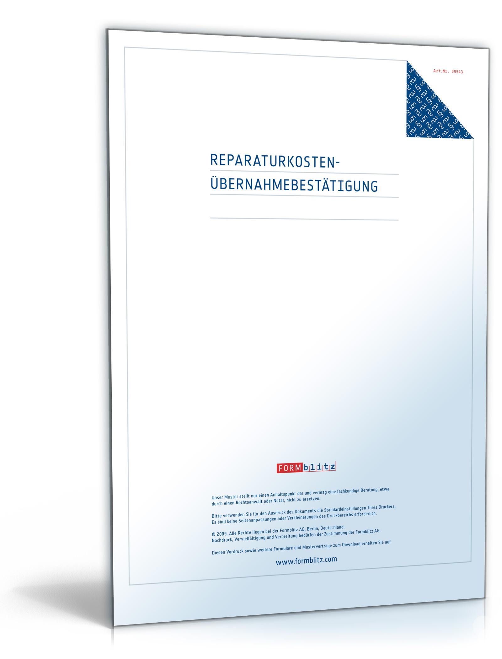 Reparaturkosten Übernahmebestätigung [PDF Download] [Download]