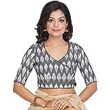 RENE Women's Cotton Ikkat Stitched Blouse (D-005241-Grey)