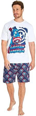 MARVEL Captain America Mens Pyjamas Shorts Set, Summer Lounge Wear Sets S to 3XL