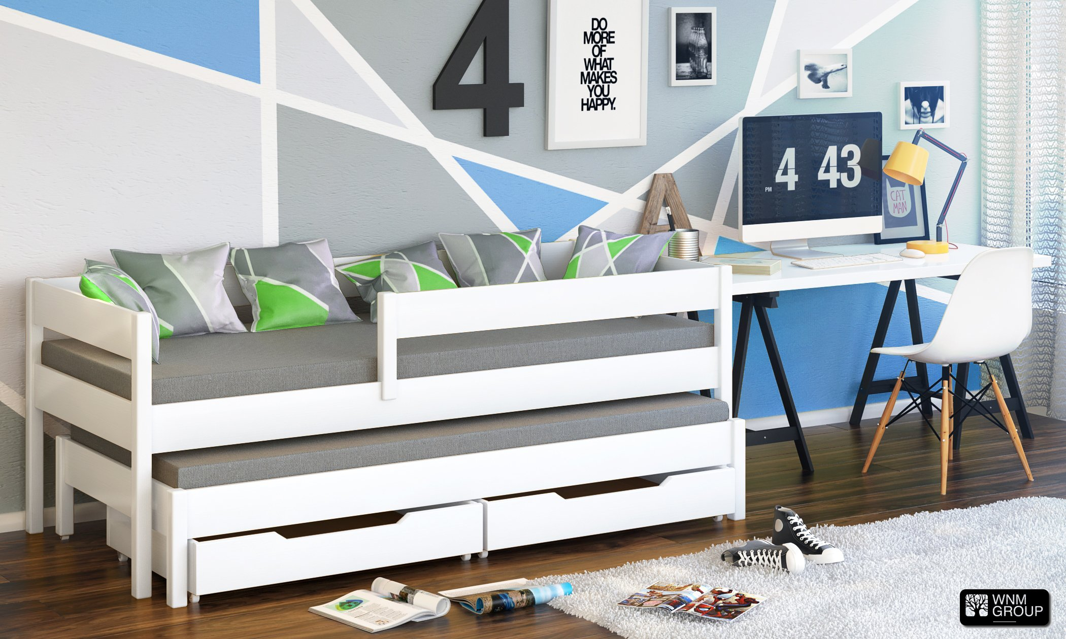 Jula Single bed for kids with trundle with 2 mattress and drawers (White, 180x80/170x80) Jula Bed with trundle Legs made of solid wood with a thickness of 45x45 mm, Bedframe strength up to 150kg You get the external dimension of the bed by adding 7 cm in to the dimension in table Two Foam comfortable mattress (10cm thickness) 2
