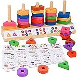 GOLDGE 57PCS Jouet en Bois Formes à Trier et à Empiler, Jeu de Tri Couleurs Et Formes Puzzle en Bois, Éducatifs Montessori en