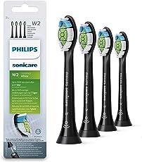 Philips Sonicare Original Aufsteckbürste Optimal White HX6064/11, entfernt bis zu 2x mehr Verfärbungen, RFID-Chip, Standard, 2er Pack, Schwarz