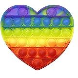 Crazychic Popit anti-stress speelgoed voor kinderen, kleurrijk, siliconen, regenboogkleuren, voor meisjes of jongens, hart