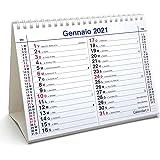 Calendario 2021 da tavolo olandese santi e lune cm 20x15 per ufficio casa e lavoro (14 FACCIATE - LIGHT - fronte mese e retro