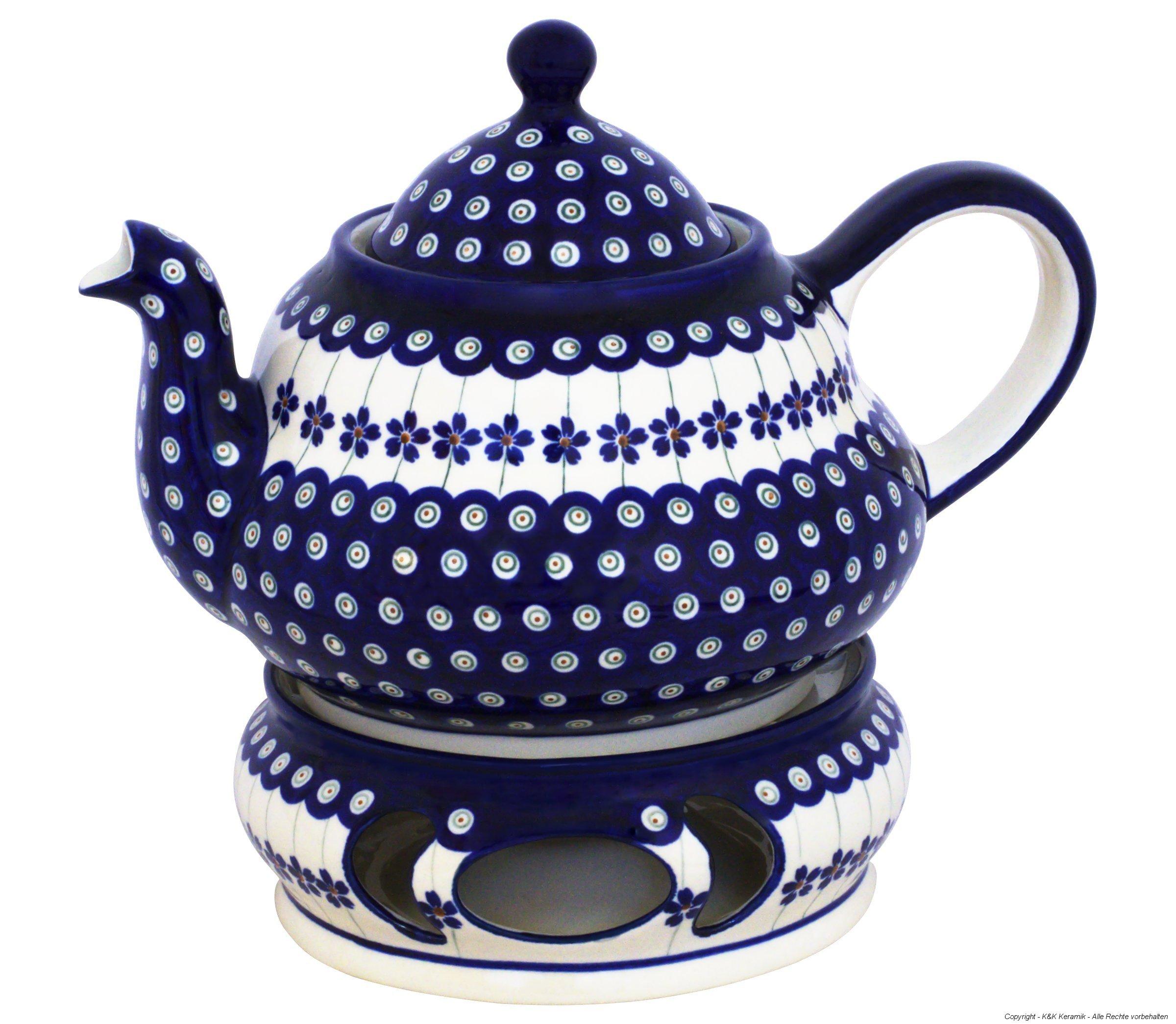 Boleslawiec Pottery Teepot 2.0 L with Warmer, Original Bunzlauer Keramik, Decor 166a
