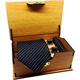 Luxeis Men Premium cotton silk Neck Tie and Pocket Square with Cufflink Combo Gift Set in Premium Wooden Box(Black, Free Size