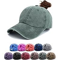 Ponytail Baseball Hats Cap - Unisex Washed Trucker Hat Dad Cap, Solid Color Adjustable Sun Hat Messy High Bun Cap Retro…