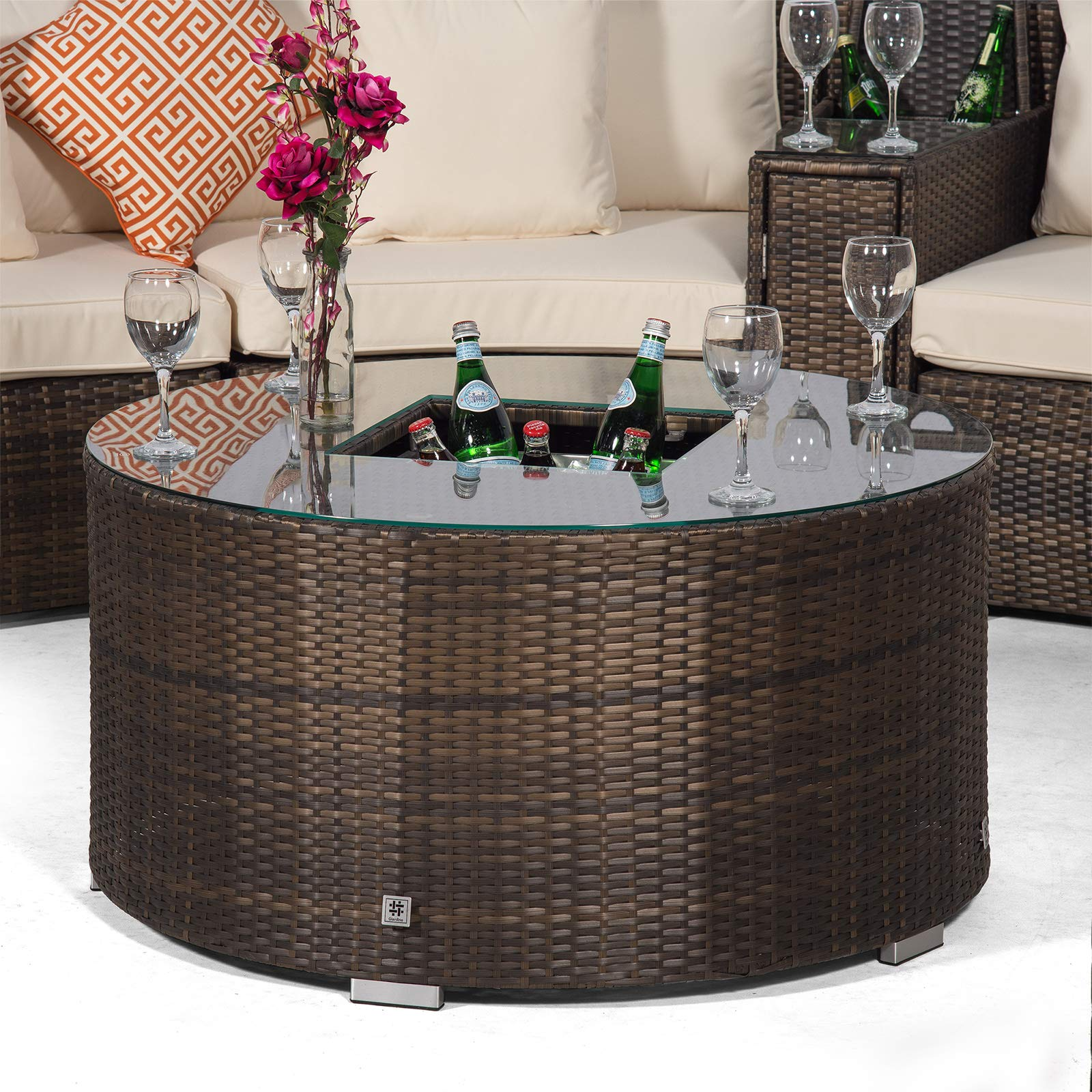 Set Giardino In Rattan.1 Armrest Consoles Outdoor Furniture Covers Coffee Table Cooler