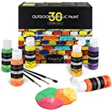 Magicfly 30 Couleurs Peinture Acryliques pour Extérieur (60 ML) Aérographe Multi-Surfaces pour Cuir, Papier, Pierre, Tissu, T