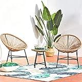CONCEPT USINE - Ensemble 2 Fauteuils Oeuf + Table Basse Ronde Beige Design Acapulco Rotin Naturel - Cordes en Polyéthylène Ré