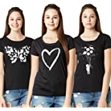 LAYA Women's Printed Multi-Color T-Shirt (Pack of 3)