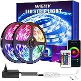 Weily Ledstrip, 15 m, wifi, RGB, met afstandsbediening, kleurverandering, SMD 5050 leds, sync voor muziek, compatibel met Ale