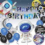 Pushingbest Decoraciones Cumpleaños, Decoraciones de Fiesta temáticas del Espacio Exterior, Astronauta Cohete Globos Foil y H