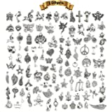 150 piezas Abalorios de Plata Dijes Colgantes de Aleación,Colgantes tibetanos del encanto de plata retro al por mayor mezclad