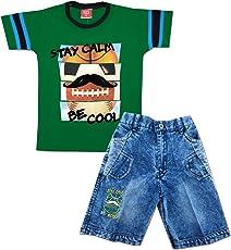 Kid's Care Summer Printed Cotton T-Shirt and Denim Half Pant/Capri Set for Boys- Stay Calm Series(8164)