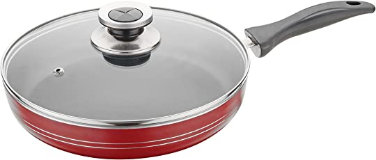 Nirlon Non-Stick Aluminium Frying Pan, 1.3 Litres, Red/Black