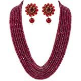 PANAASHE-RAJASTHANI Ruby Onyx 7 Layer necklace set with Stud earring for women