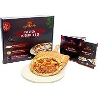 grillart® Premium Pizzastein für Gasgrill und Backofen im Set – Hochwertiger Pizzastein Rund inklusive Pizzaschieber und…