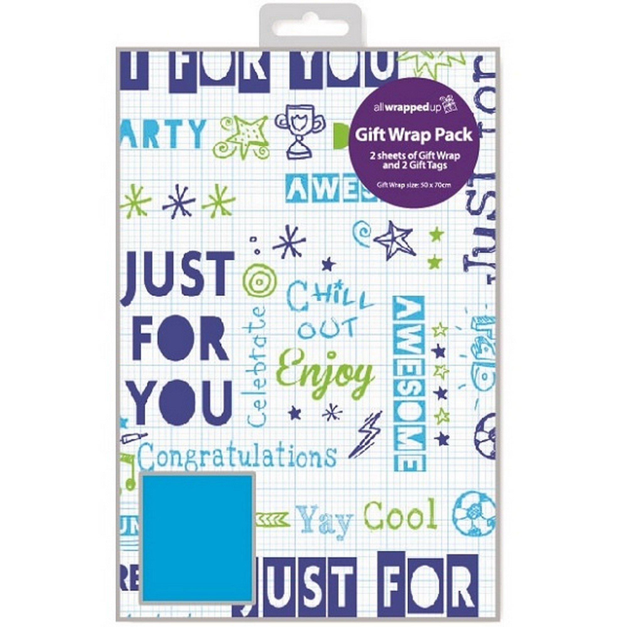 Expression Factory - Set carta da regalo e etichette per bambino (Taglia unica) (Blu )