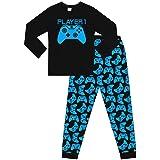 The PyjamaFactory Pijama largo de algodón para niños y niñas, jugador 1, color azul