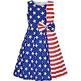 Sunny Fashion Vestido para niña Bloque de Color Contraste Corbata de moño Todos los días Fiesta 4-14 años