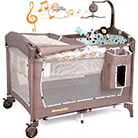 Baby Crib Foldable Travel Cot Bed Playpen with Bassinet, Changing Table, Wheels and Brake, Portable Design with Carry Bag, Nursery Center for Boys and Girls with Toys & Music