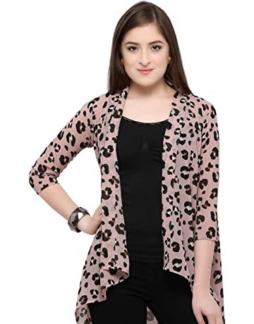 544f0ac04 Serein Women's Printed Georgette Long Shrug/Jacket with 3/4th Sleeves