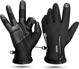 KONVINIT Radfahren Winter Handschuhe schwarz Herren Rutschfest Winddichte Touch Screen Thermische Full Finger Handschuhe by