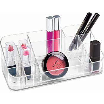 mDesign Expandable Makeup Organizer for Bathroom Drawers Clear MetroDecor 00782MDC Eyeshadow Palettes Vanities Adjustable Width Lipstick Lip Gloss Blush 2 Pack Countertops: Organize Makeup Brushes Concealer