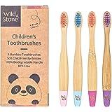 Wild & Stone Spazzolino da Denti in Bambù Biologico per Bambini   Confezione 4 Colori Candy   Setole Morbide in Fibra   Manic