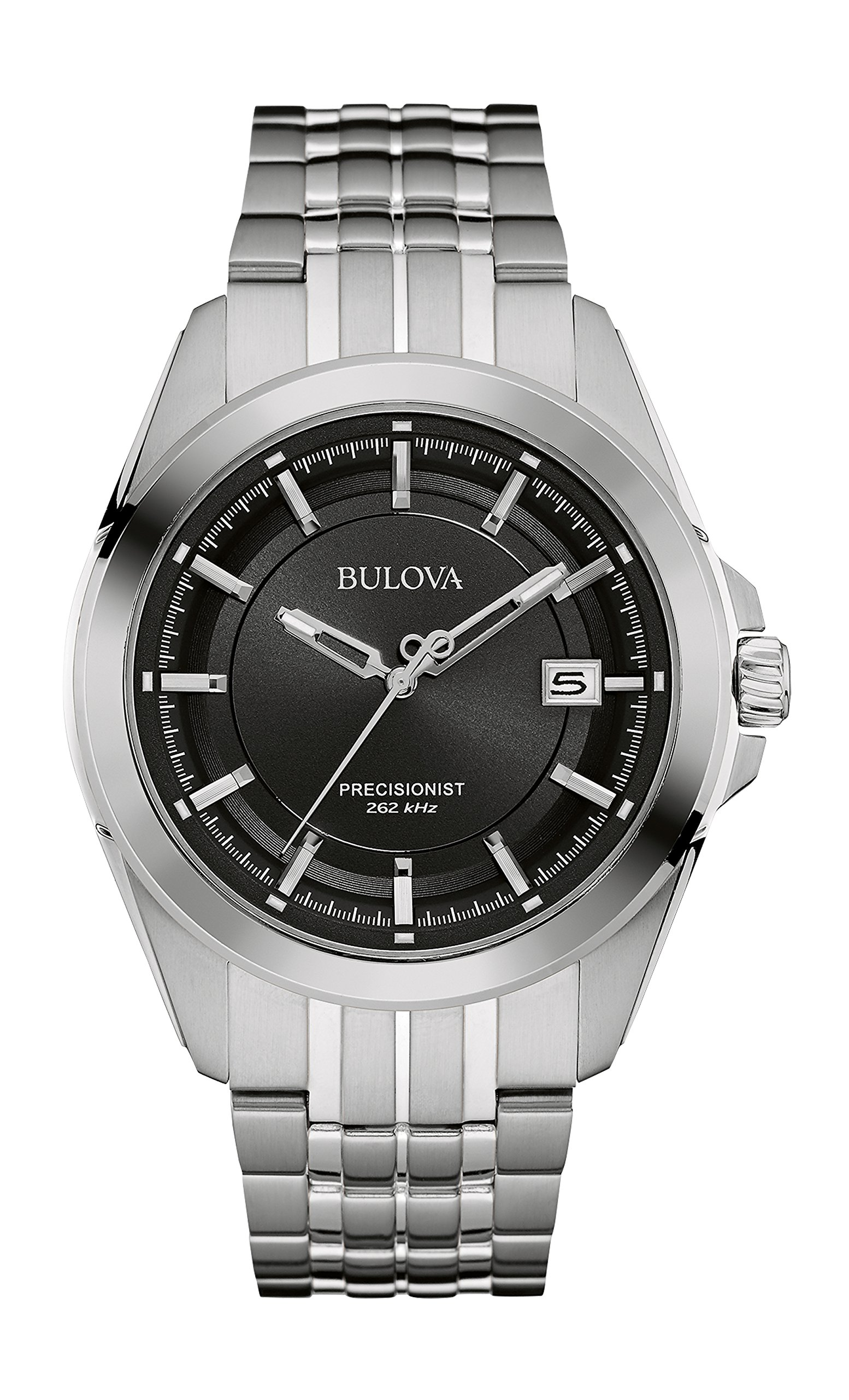 Bulova Men's Designer Watch Stainless Steel Bracelet – Black Dial Precisionist Wrist Watch 96B252