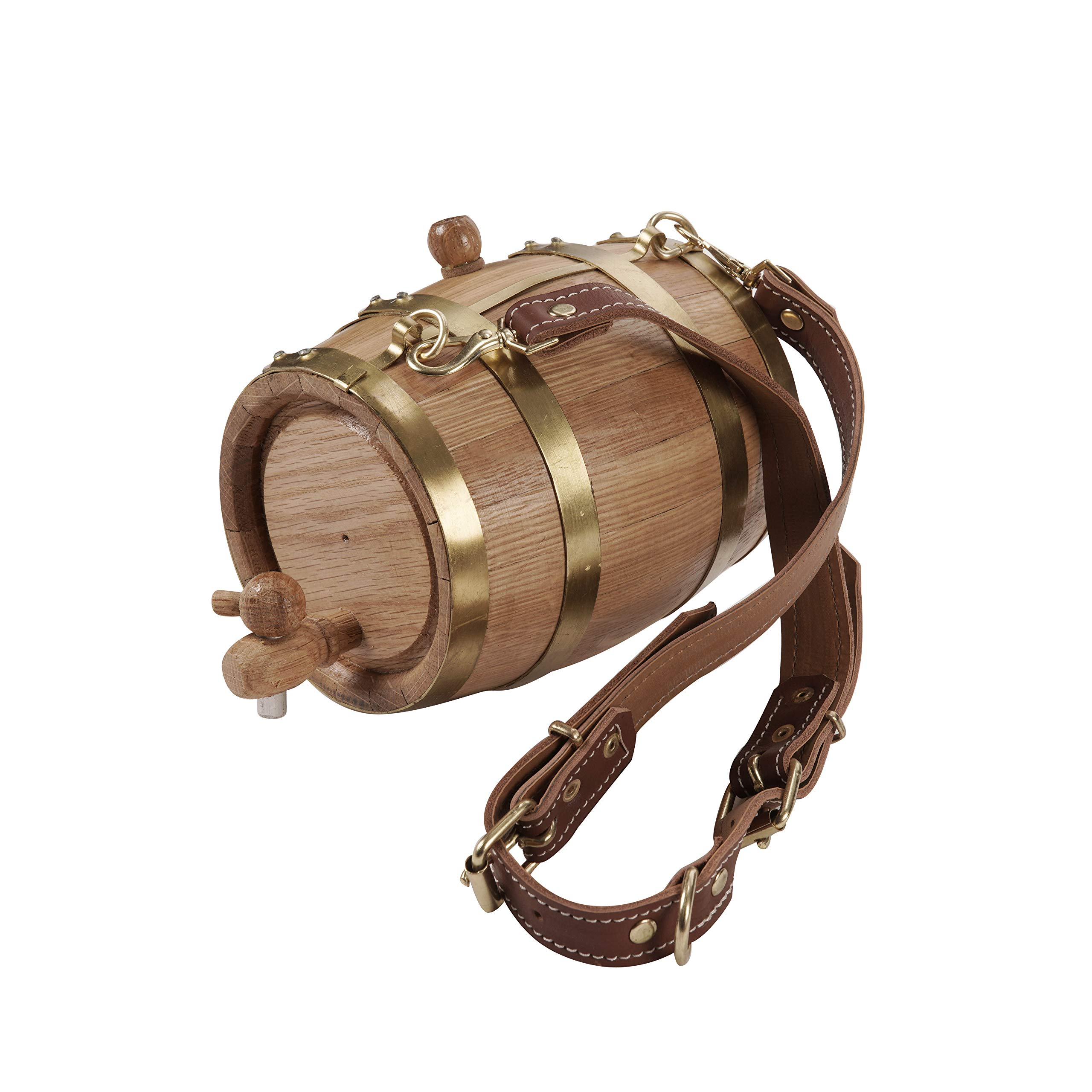 KegWorks St. Bernard Dog Collar Wood Rescue Barrel – Brass Bands – 1 Liter Capacity