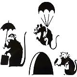 uksellingsuppliers ® Muisgat Banksy Set van drie KLEINE BANKSY RAT MET VERF TIN EN ROLLER/PARATROOPER/UMBRELLA Plint Muurstic