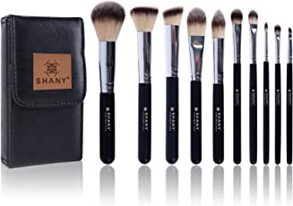 Shany Black Ombre Pro Essential Brush Set with Travel Pouch (10 Pieces)